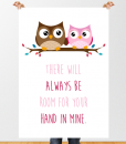 Owls holding hand